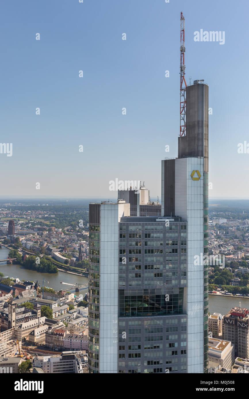 Gallileo tower of the Dresdner Bank in Frankfurt, Frankfurt am Main, Hesse, Germany Stock Photo
