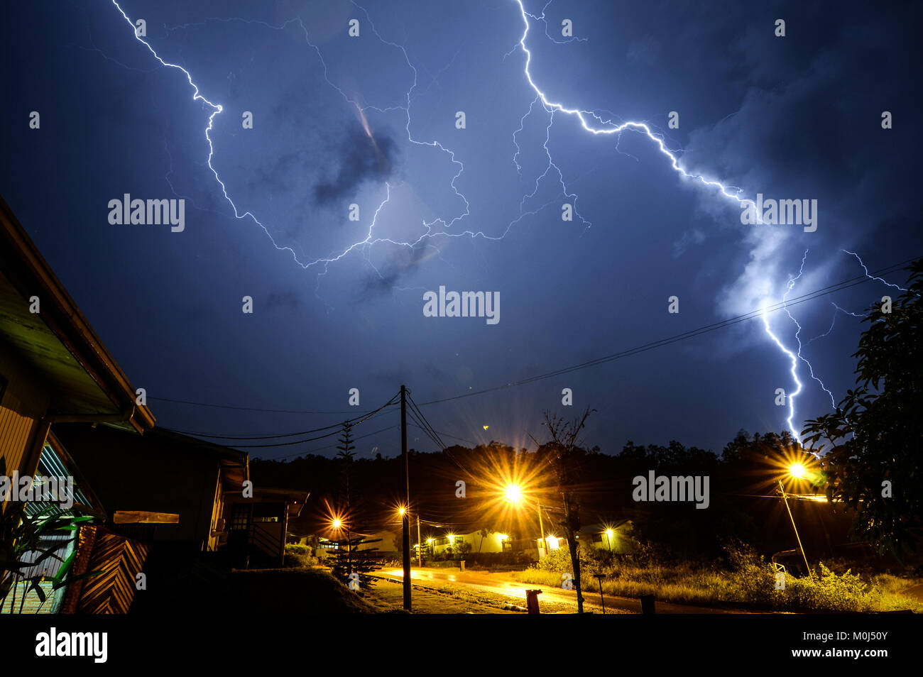 Lightning strike during thunderstorm in Sorowako, South Sulawesi Indonesia. - Stock Image