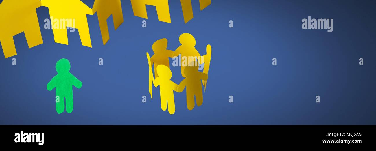 Individual alone and group together people paper cut outs - Stock Image