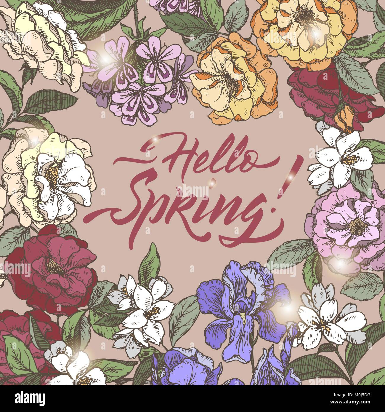 11f45510c9f2 Color romantic vintage greeting card template with Hello Spring brush  calligraphy and flowers hand drawn sketch.