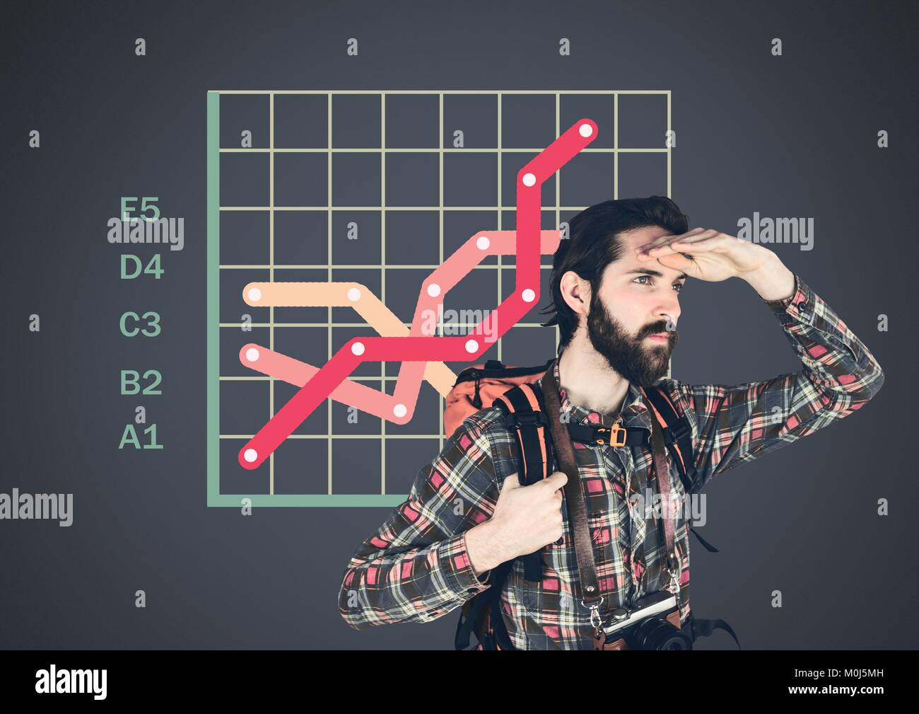 Traveler adventurer man with colorful grid chart statistics - Stock Image