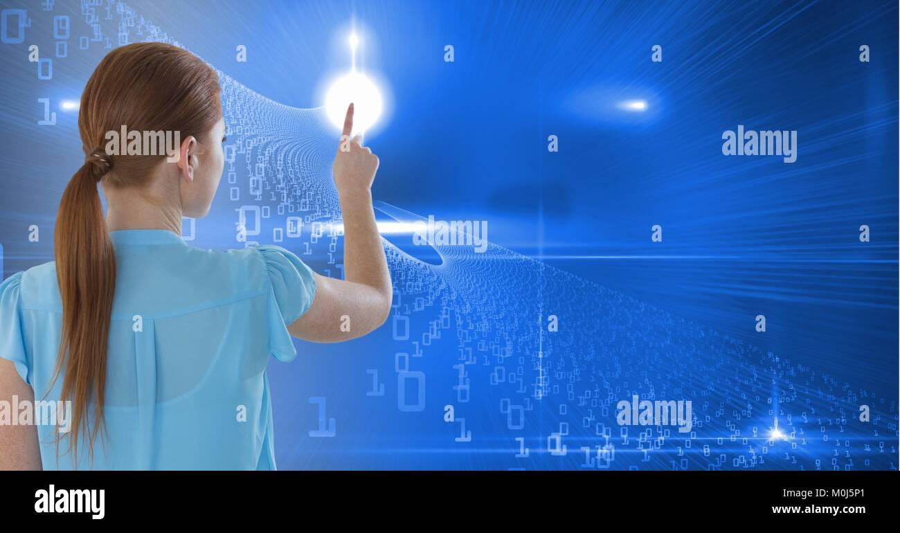Woman touching binary digits - Stock Image