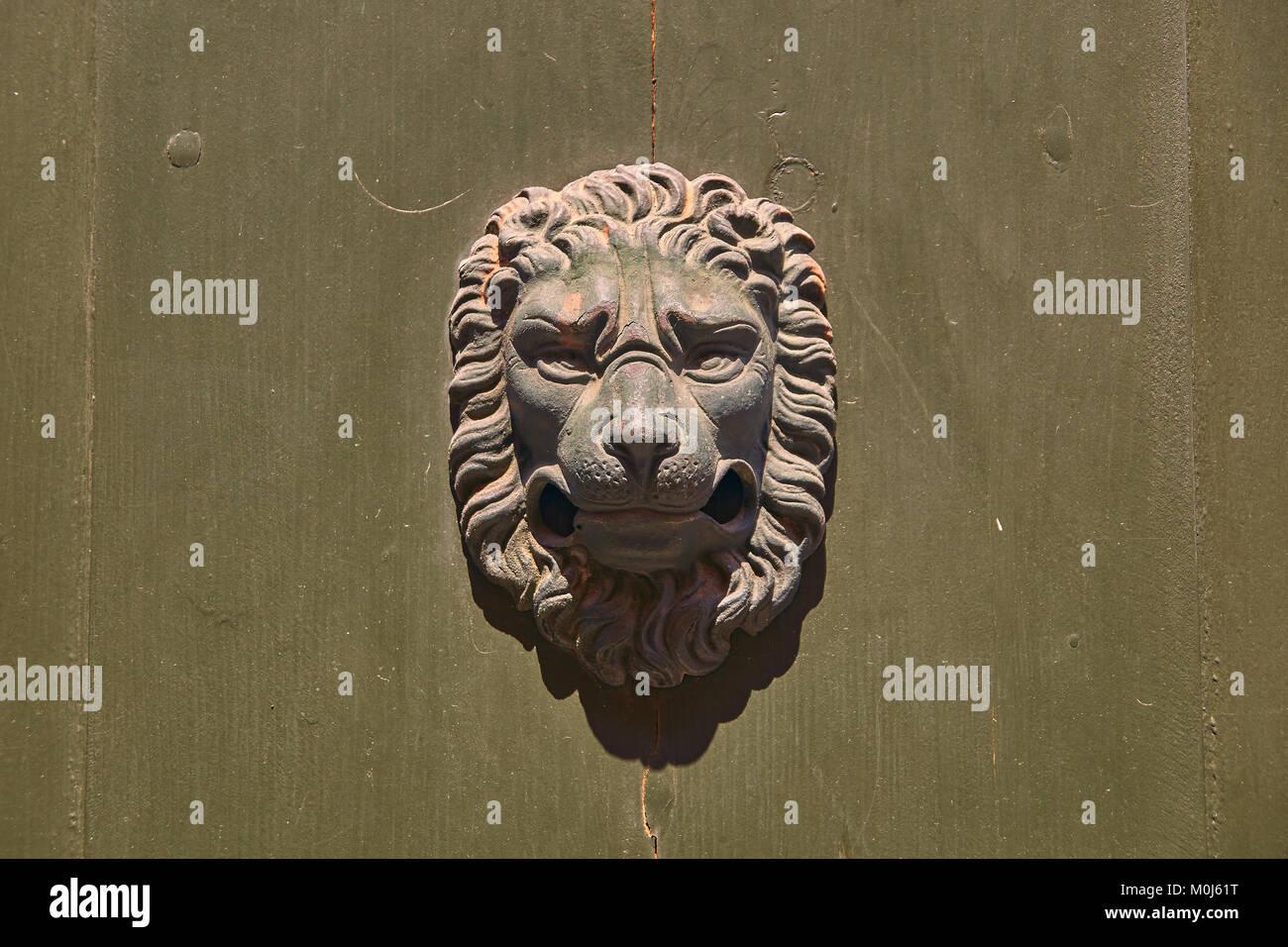 Vintage Door Knocker In The Shape Of Lion Head