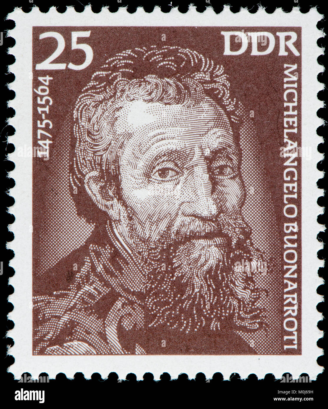 East German postage stamp (1975) : Michelangelo (di Lodovico Buonarroti Simoni) (1475 – 1564) Italian sculptor, painter, architect Stock Photo
