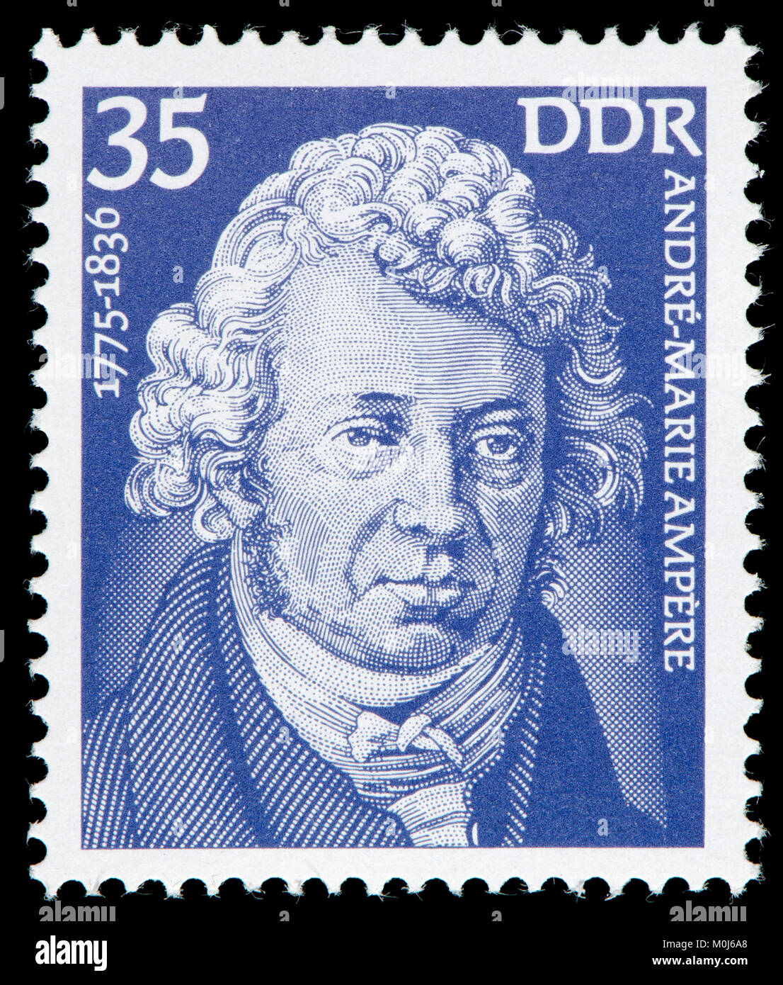 East German postage stamp (1975) : André-Marie Ampère (1775 – 1836) French physicist and mathematician Stock Photo