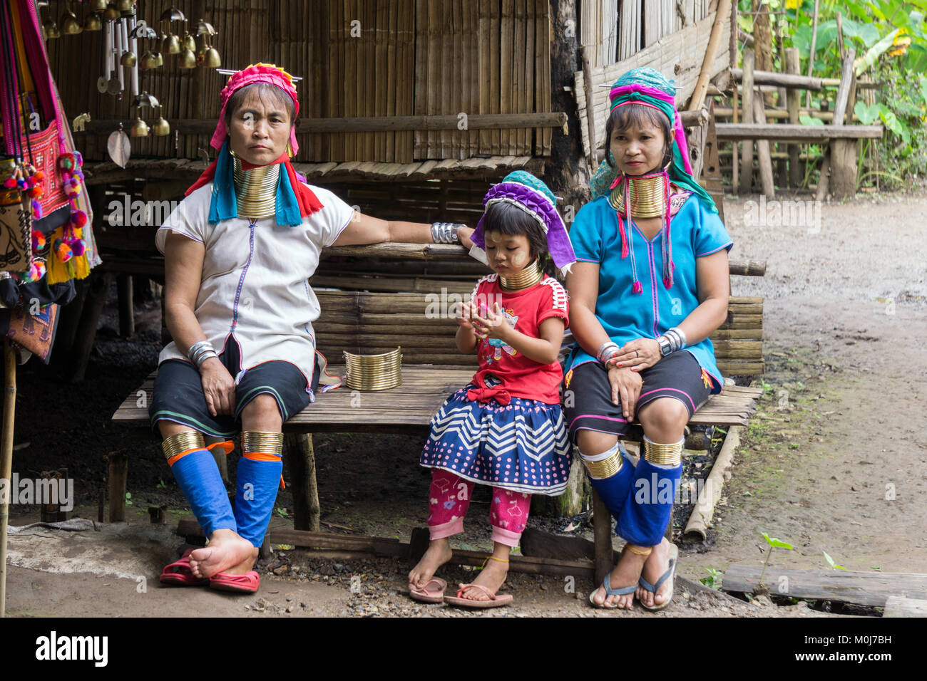 Asia,Thailand,Chiang Mai,Ban Huay Pa Rai Hill Tribe Village,long neck woman - Stock Image