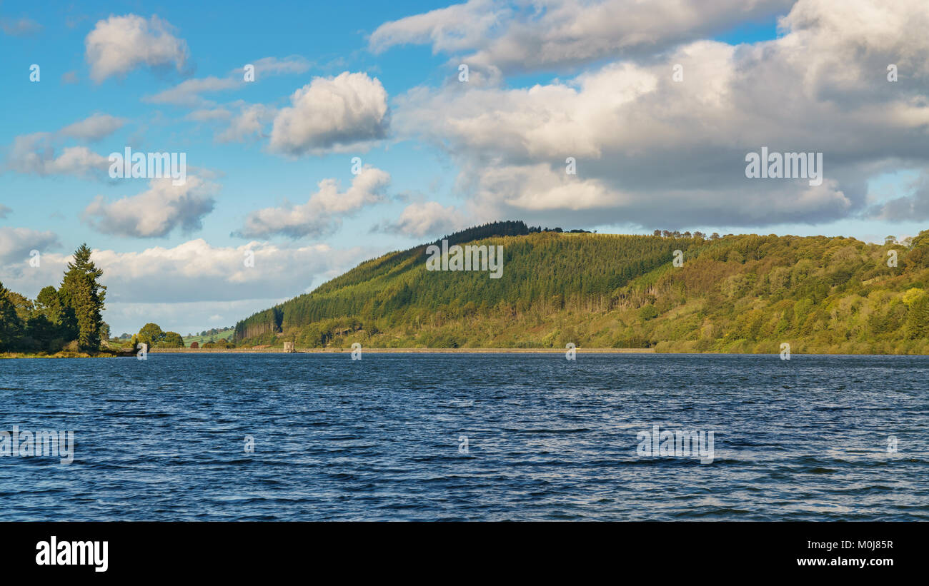 The Talybont Reservoir with Tor y Foel in the background, Powys, Wales, UK - Stock Image