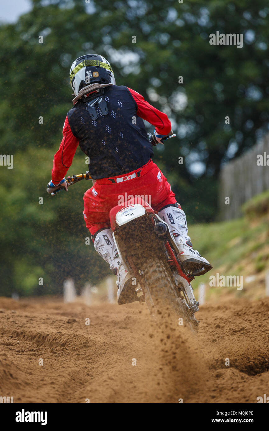 Motocross at the NGR & ACU Eastern EVO Championships, Cadders Hill, Lyng, Norfolk, UK. - Stock Image