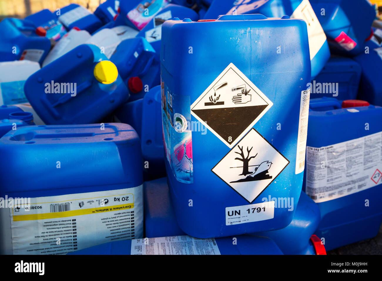 Abandoned plastic drums of liqued chlorine on La Gomera, Canary Islands. Stock Photo