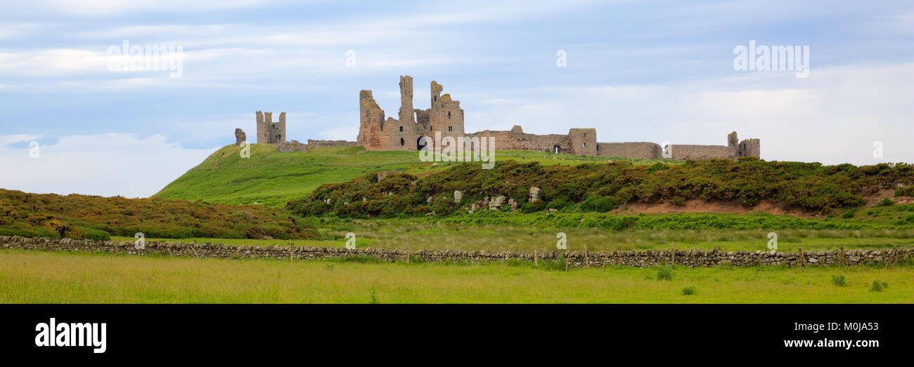 Bamburgh Castle Northumberland north east England UK panoramic view Stock Photo
