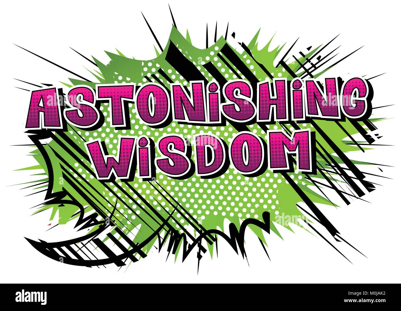 Astonishing Wisdom - Comic book style word on abstract background. - Stock Vector