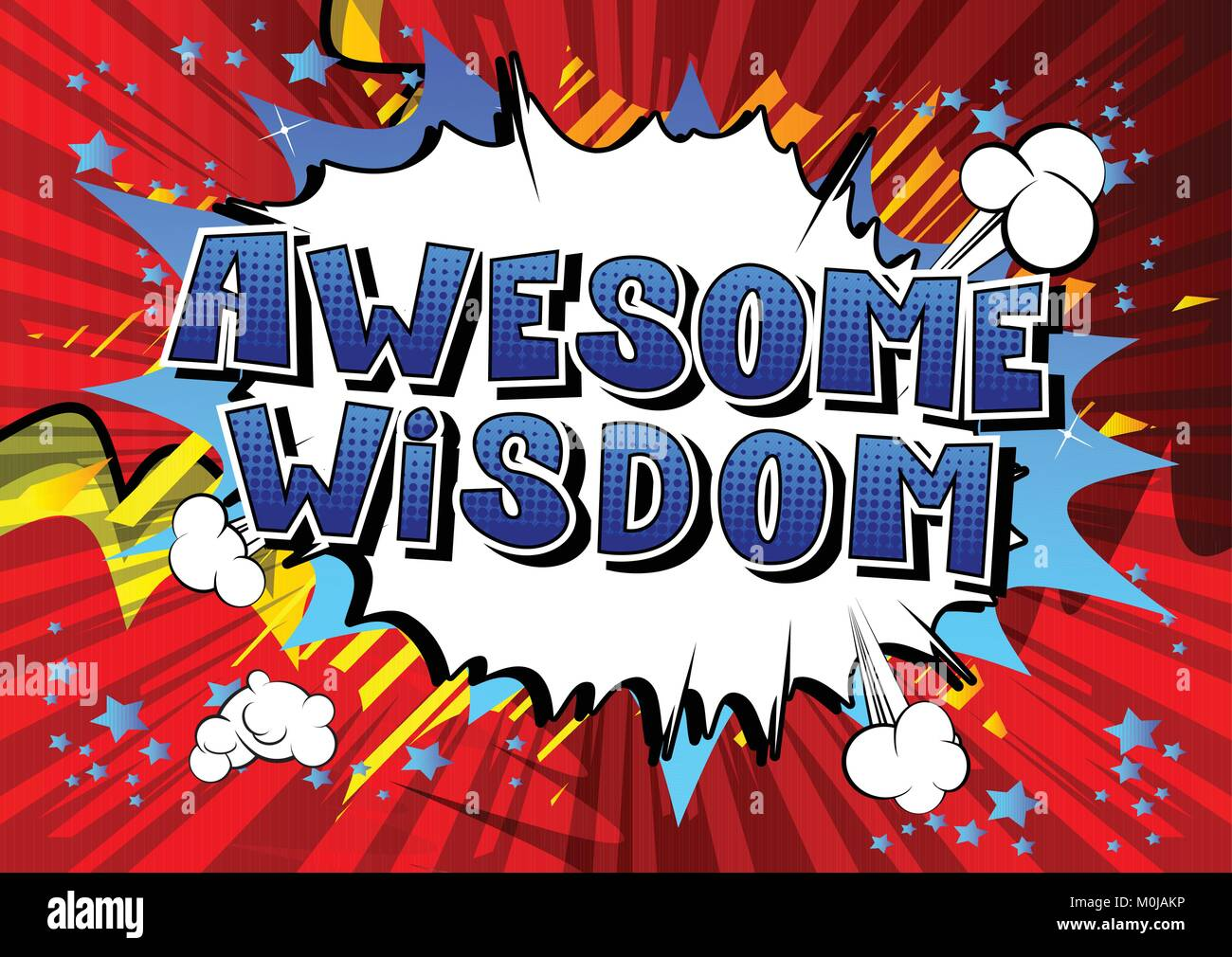 Awesome Wisdom - Comic book style word on abstract background. - Stock Vector