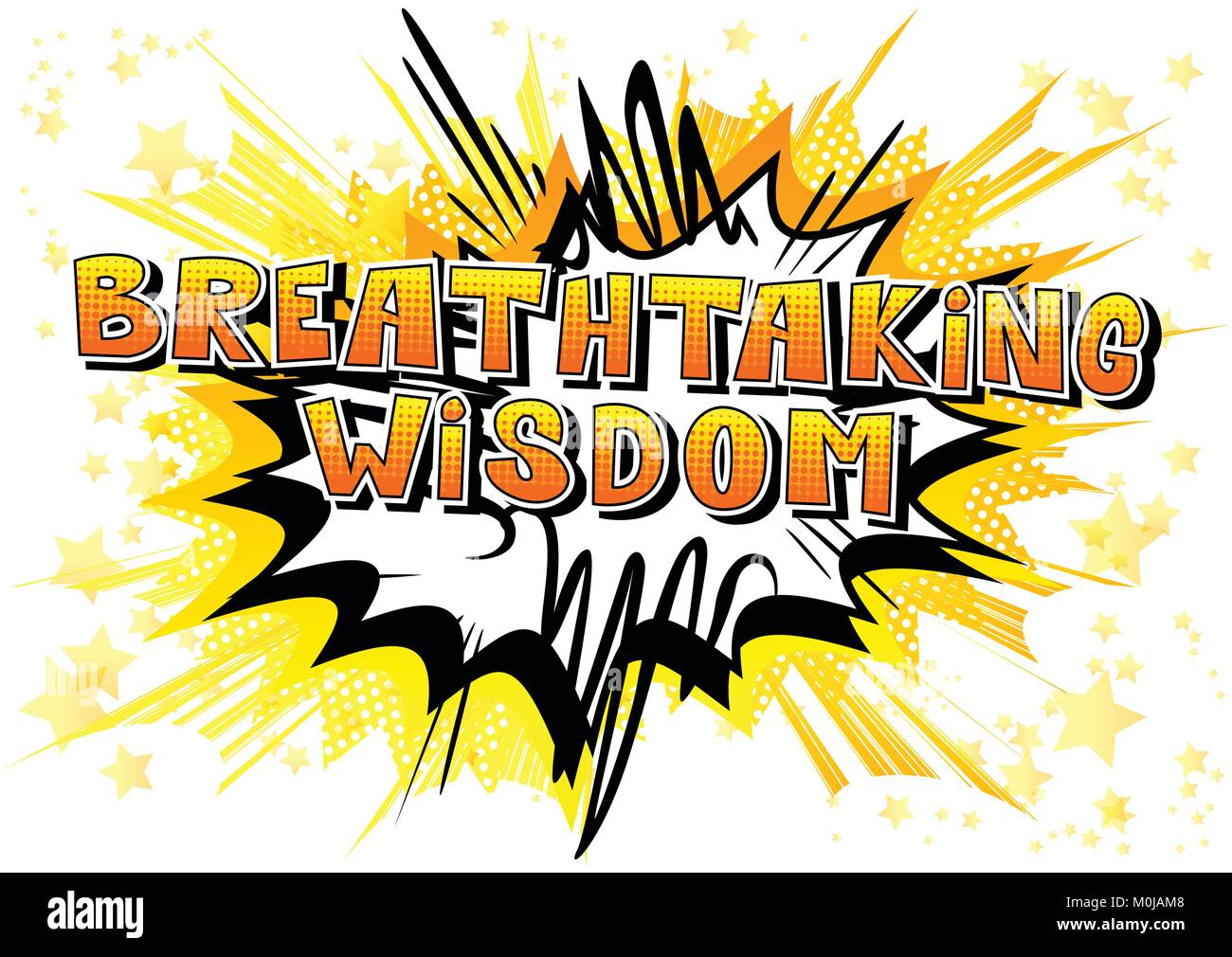 Breathtaking Wisdom - Comic book style word on abstract background. - Stock Vector