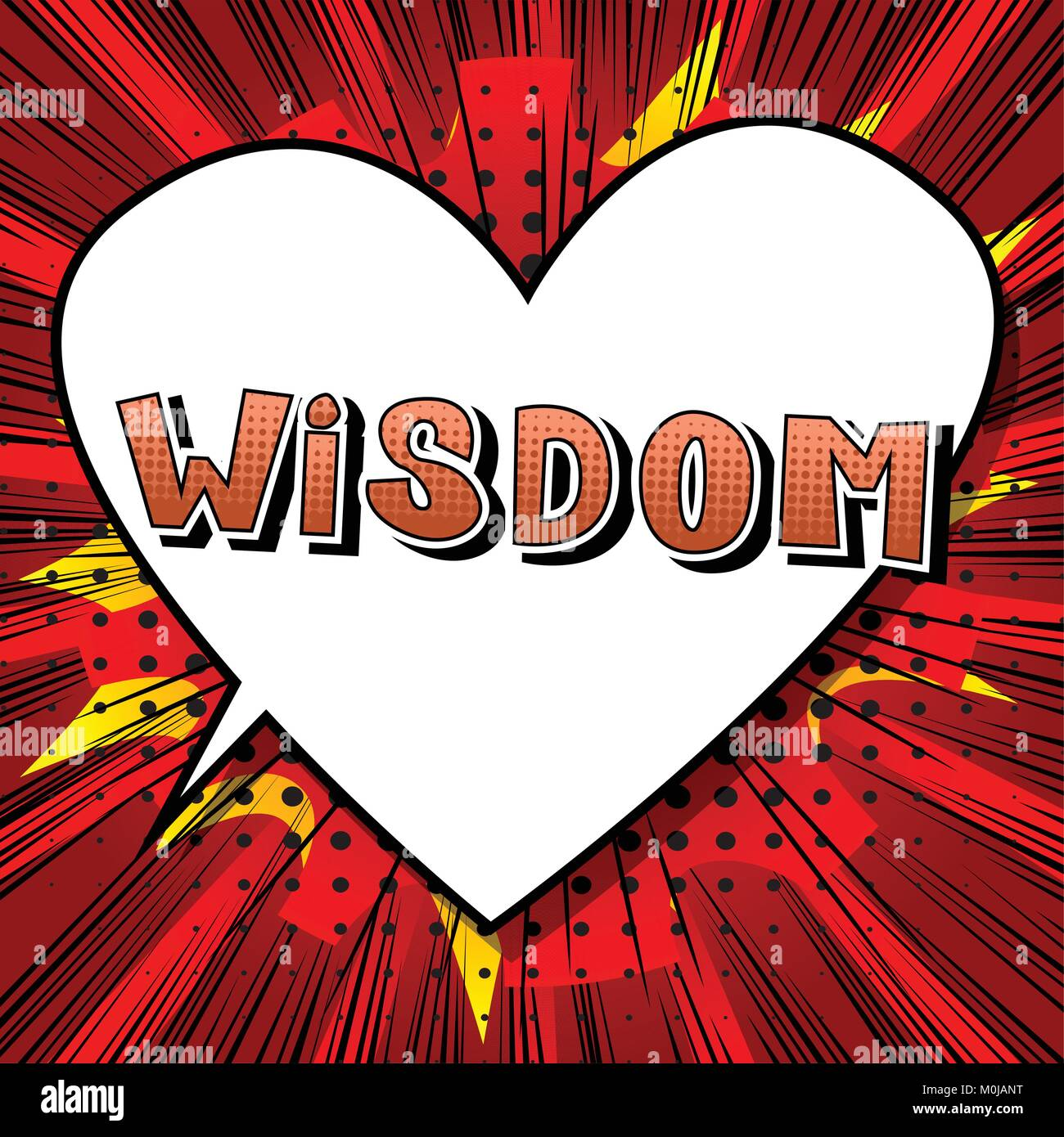 Wisdom - Comic book style word on abstract background. - Stock Vector