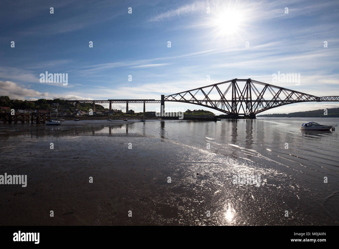 03/06/2016 North Queensferry, The Forth Bridge (Fife) a class 68 locomotive crosses with a Scotrail train. - Stock Image