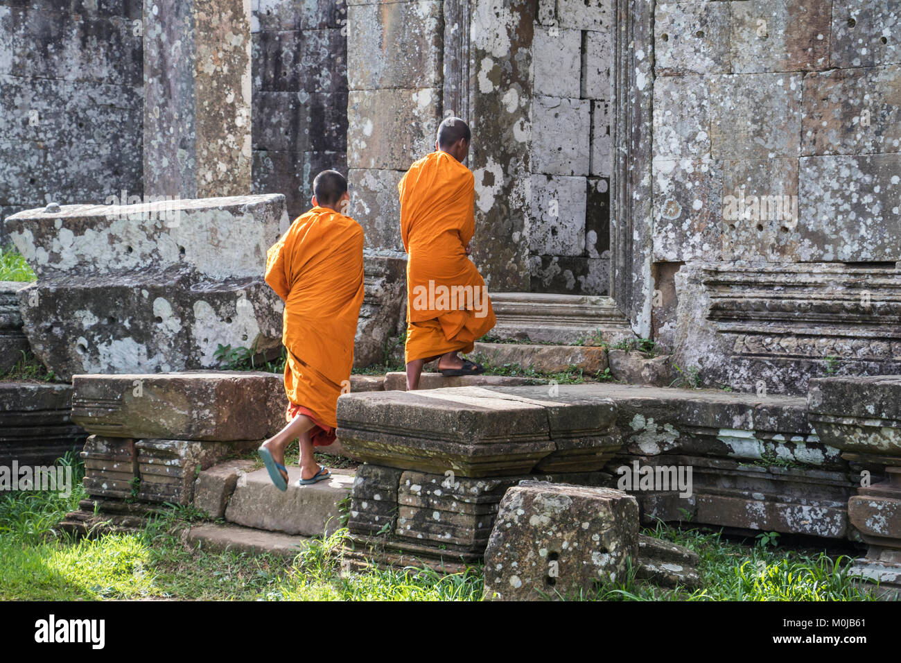 Buddhist monks; Preah Vihear, Cambodia Stock Photo