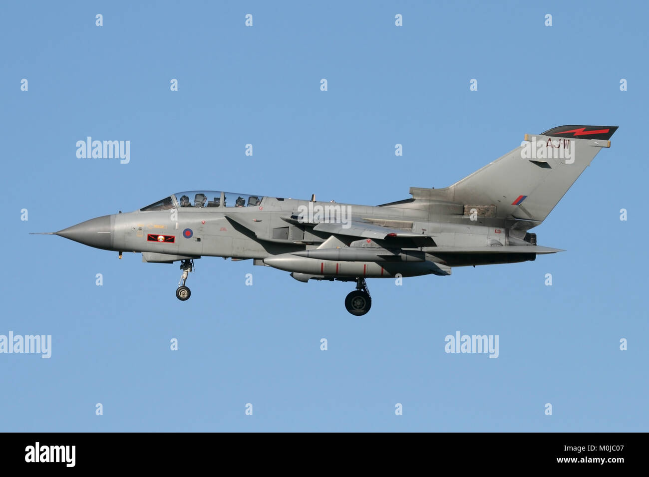 RAF Tornado GR4 carrying the markings of 617 Squadron, the famous Dambusters on the turn into RAF Marham in Norfolk. Stock Photo