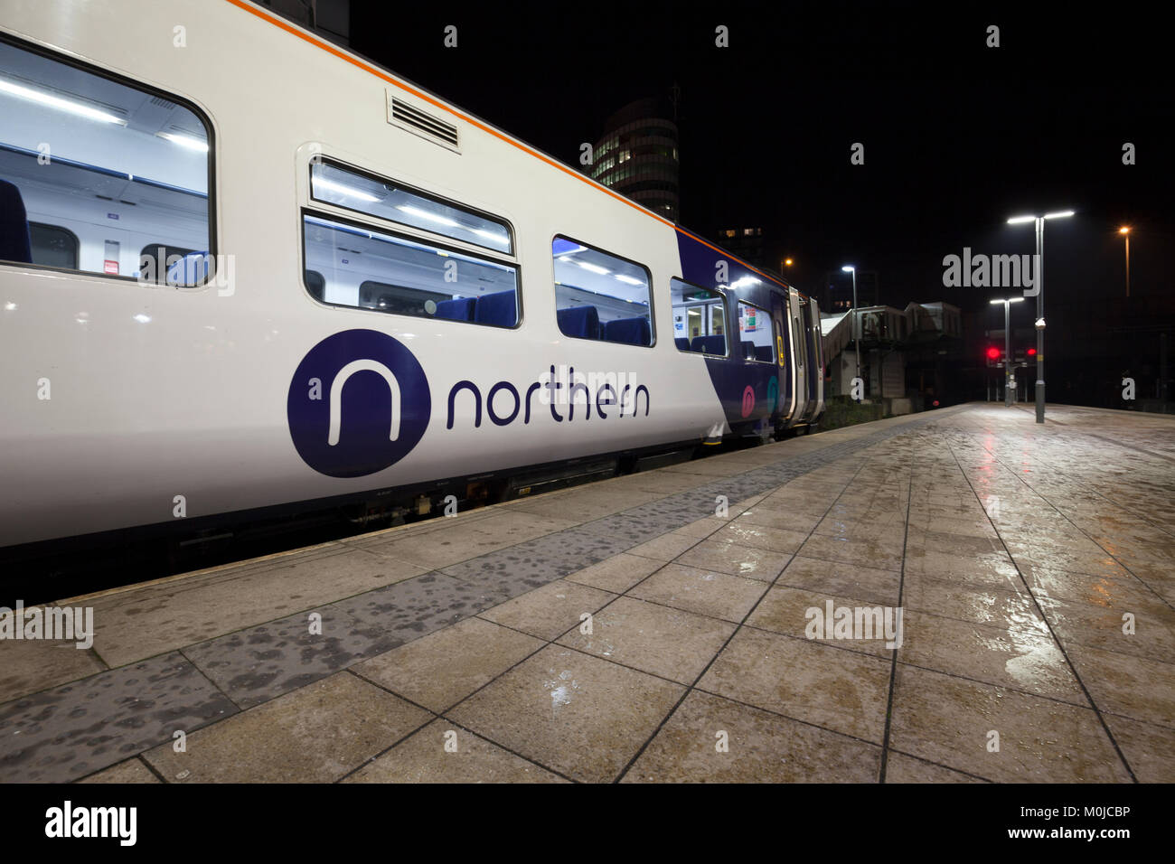 Arriva Northern Rail logo on a class 158 express sprinter train at  Manchester Victoria  station - Stock Image