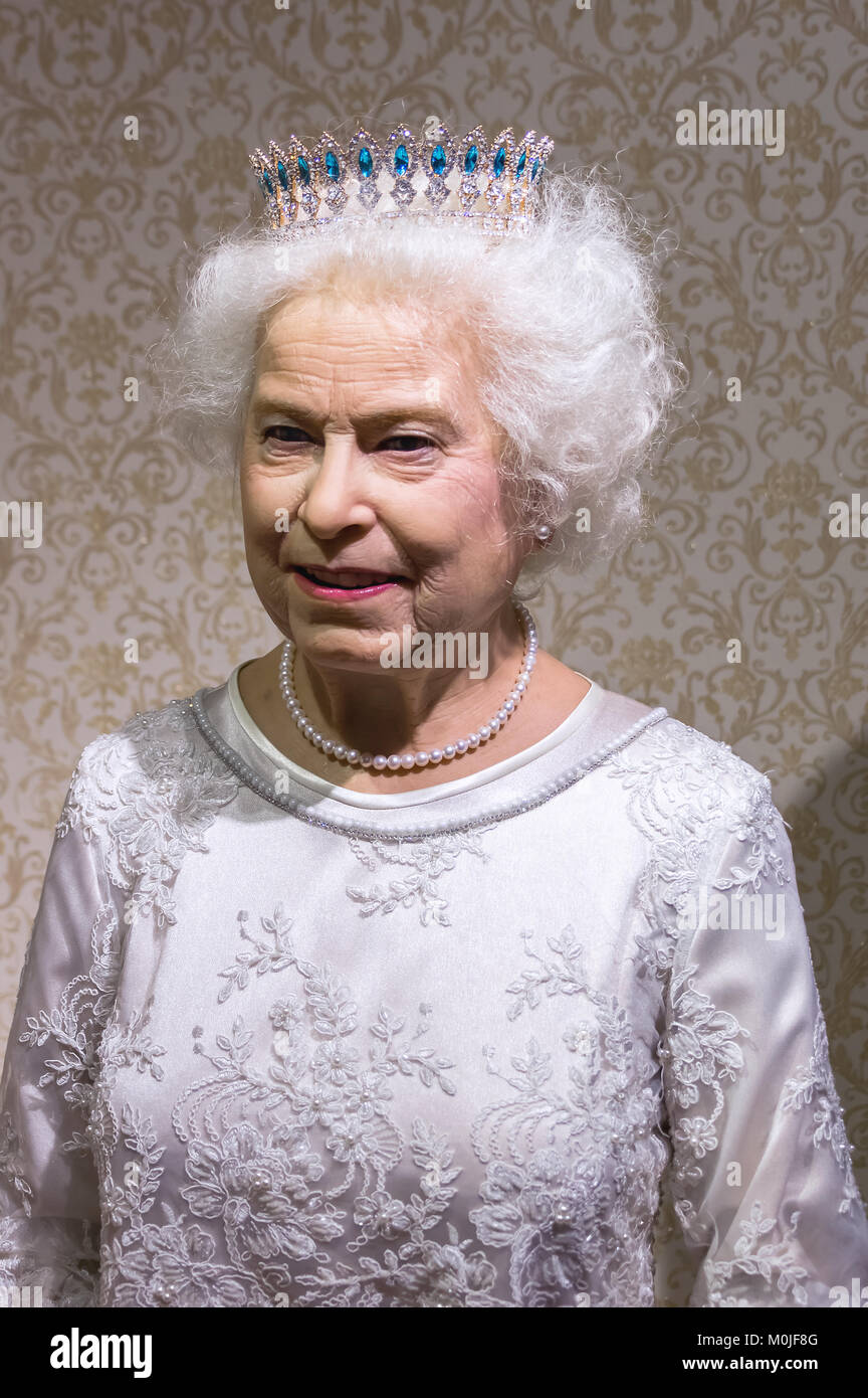 Wax statue of Queen Elizabeth II  at the Krakow Wax Museum - Cracow, Poland. - Stock Image