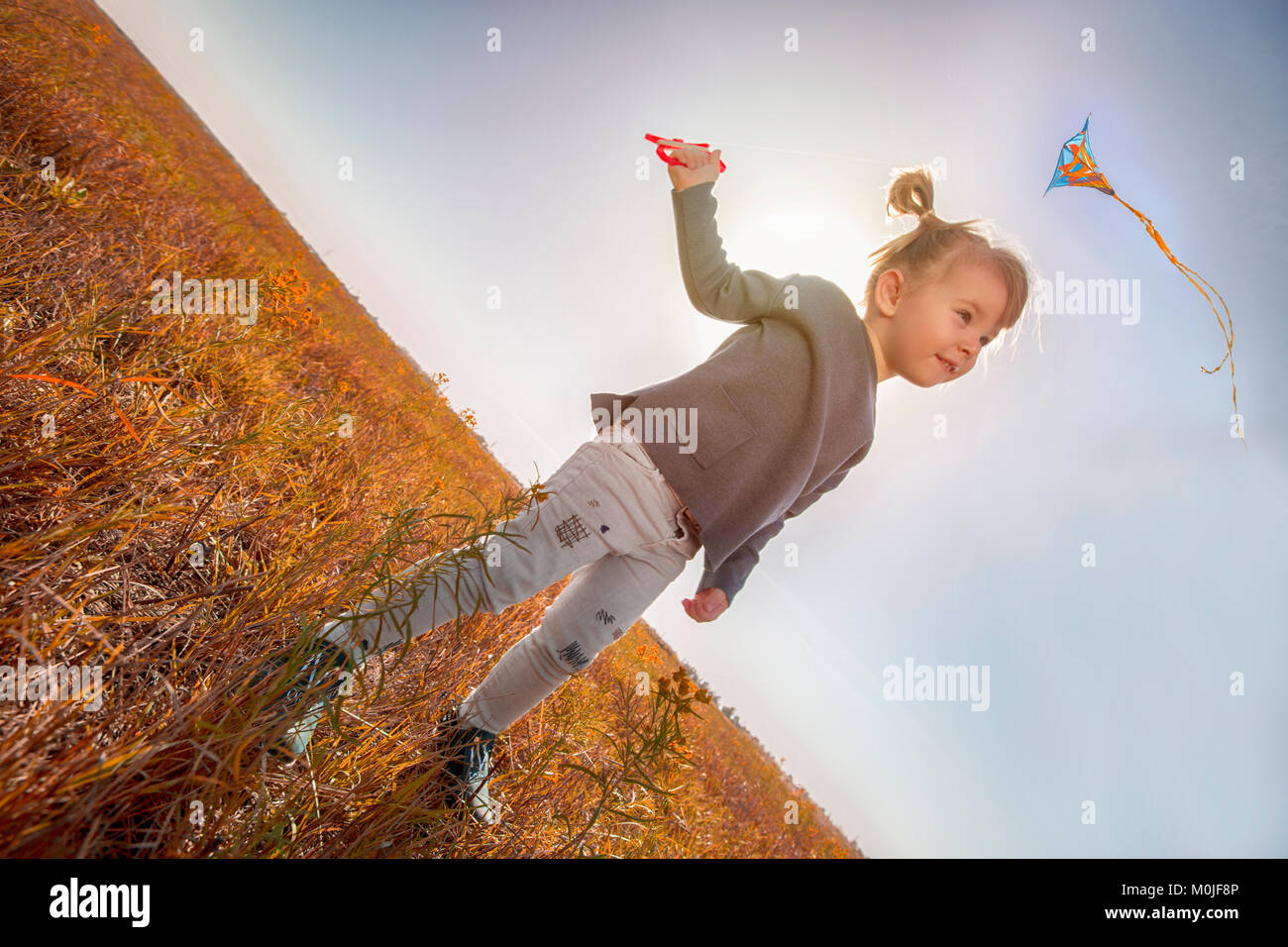 Little girl flying a kite in the field Intentional slope of the horizon to give the dynamics of the photo - Stock Image