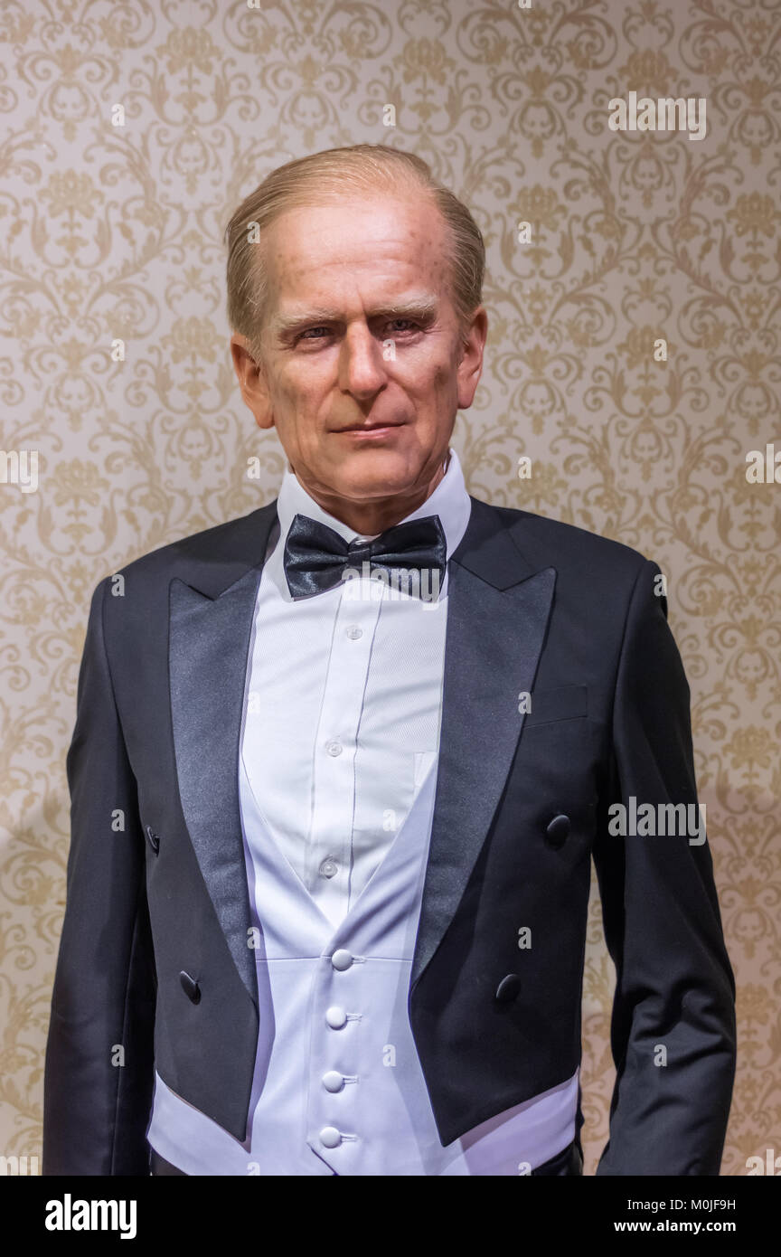 Wax statue of Prince Philip at the Krakow Wax Museum - Cracow, Poland. - Stock Image
