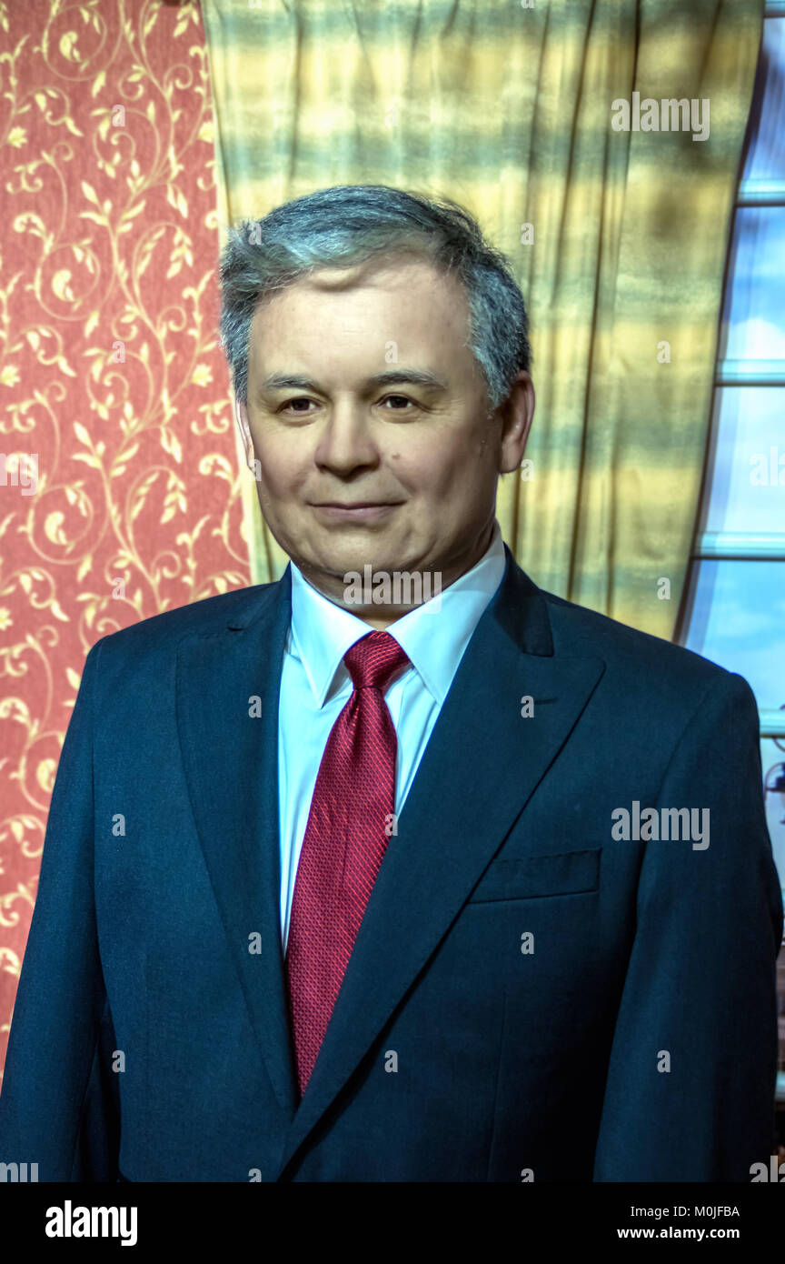 Wax statue of Lech Kaczynski, the President of the Republic of Poland at the Krakow Wax Museum - Cracow, Poland. - Stock Image