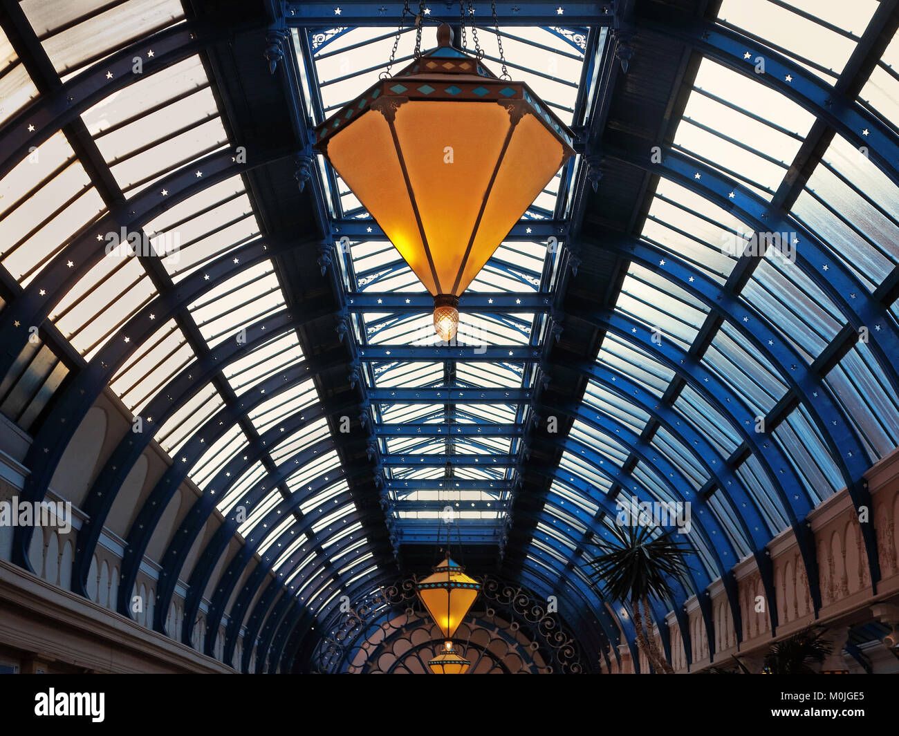 Under the glass roof of the Winter Gardens, Blackpool - Stock Image