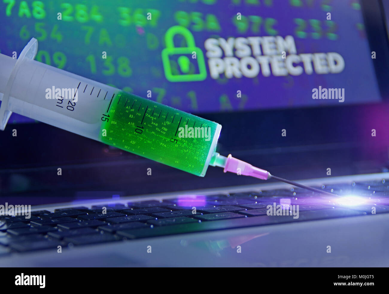 Antivirus vaccination in the syringe applied to the computer. System protection concept and cybersecurity. - Stock Image