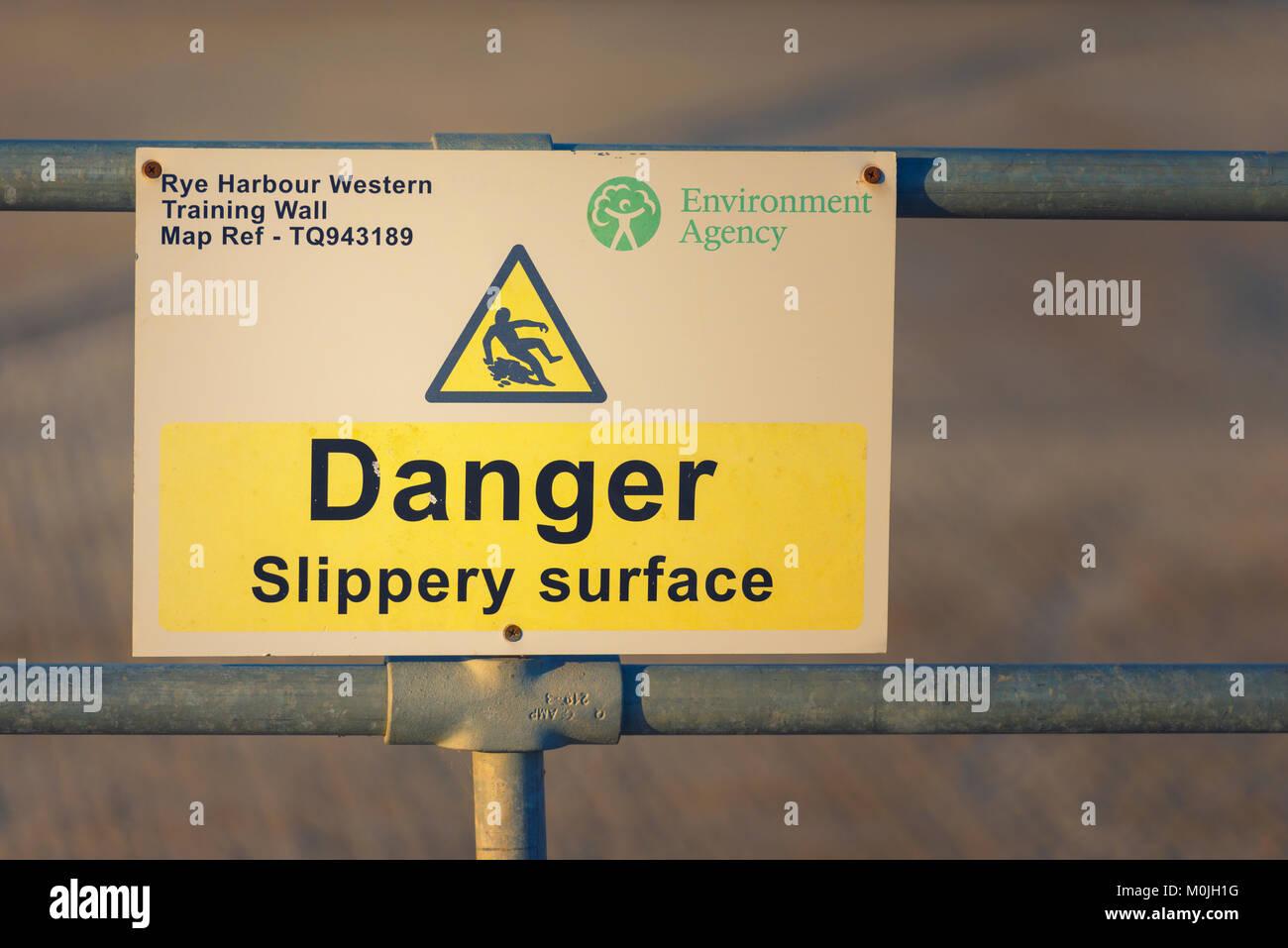 Danger slippery surface - Stock Image