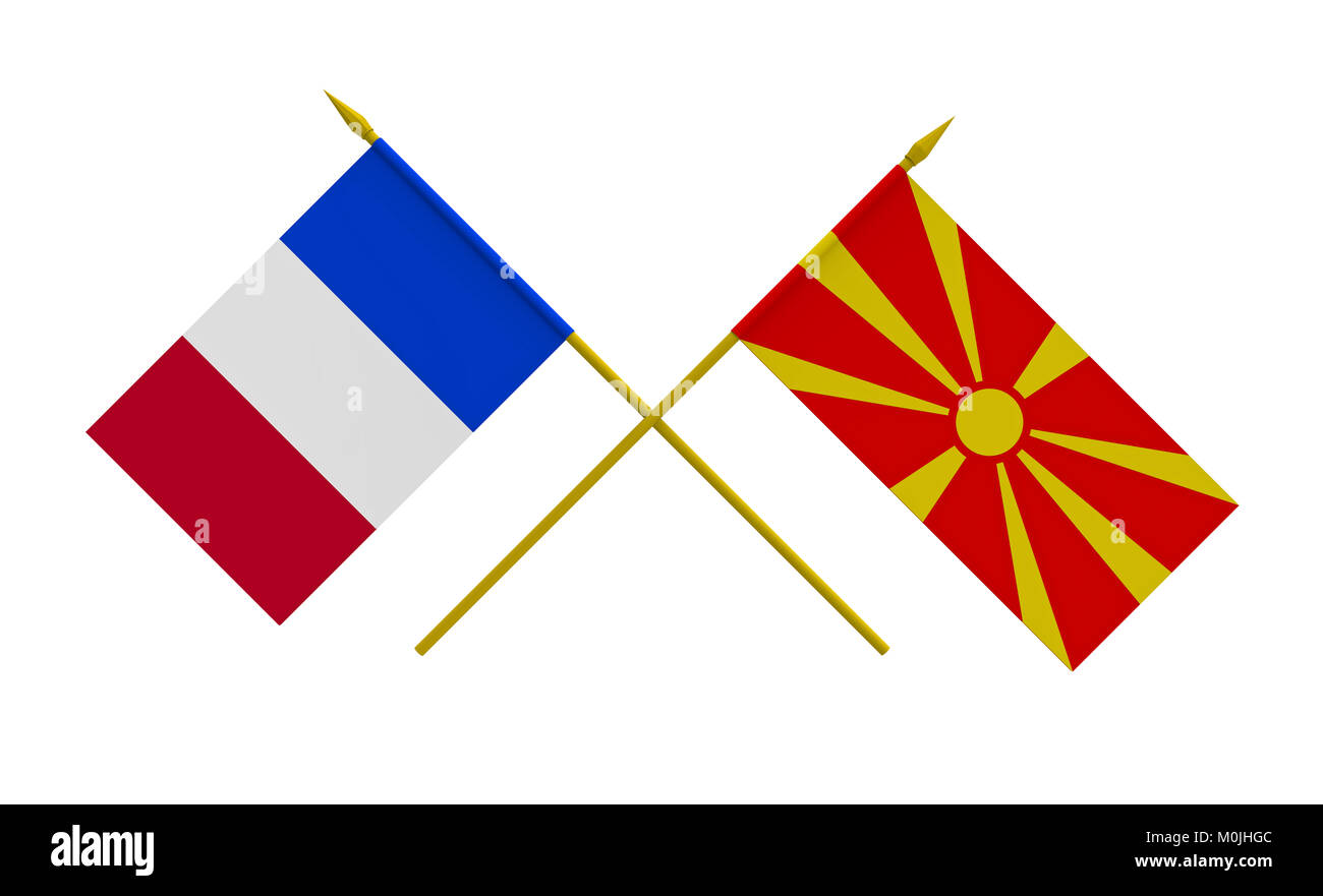 Flags of France and Macedonia, 3d render, isolated on white - Stock Image