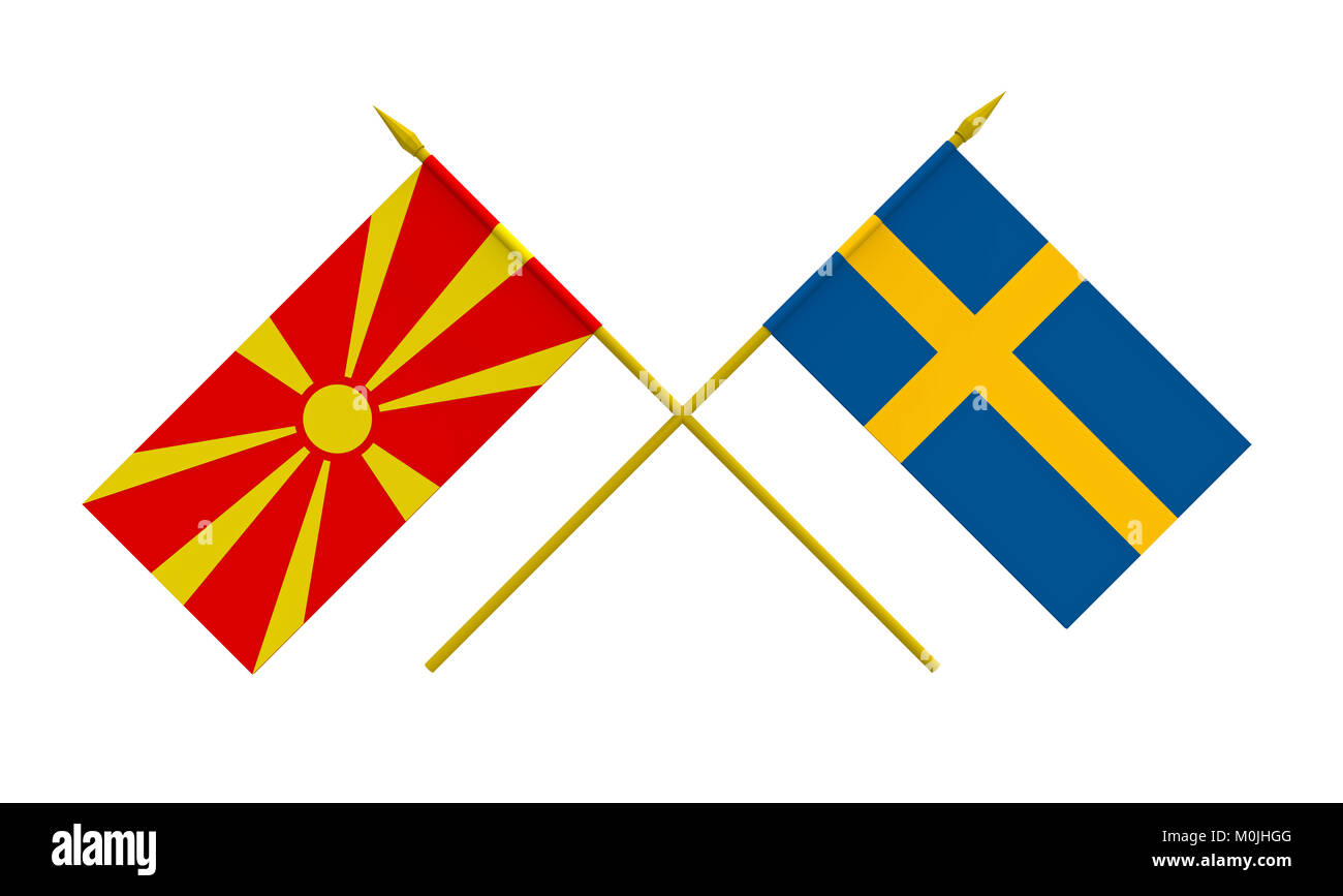 Flags of Macedonia and Sweden, 3d render, isolated on white - Stock Image