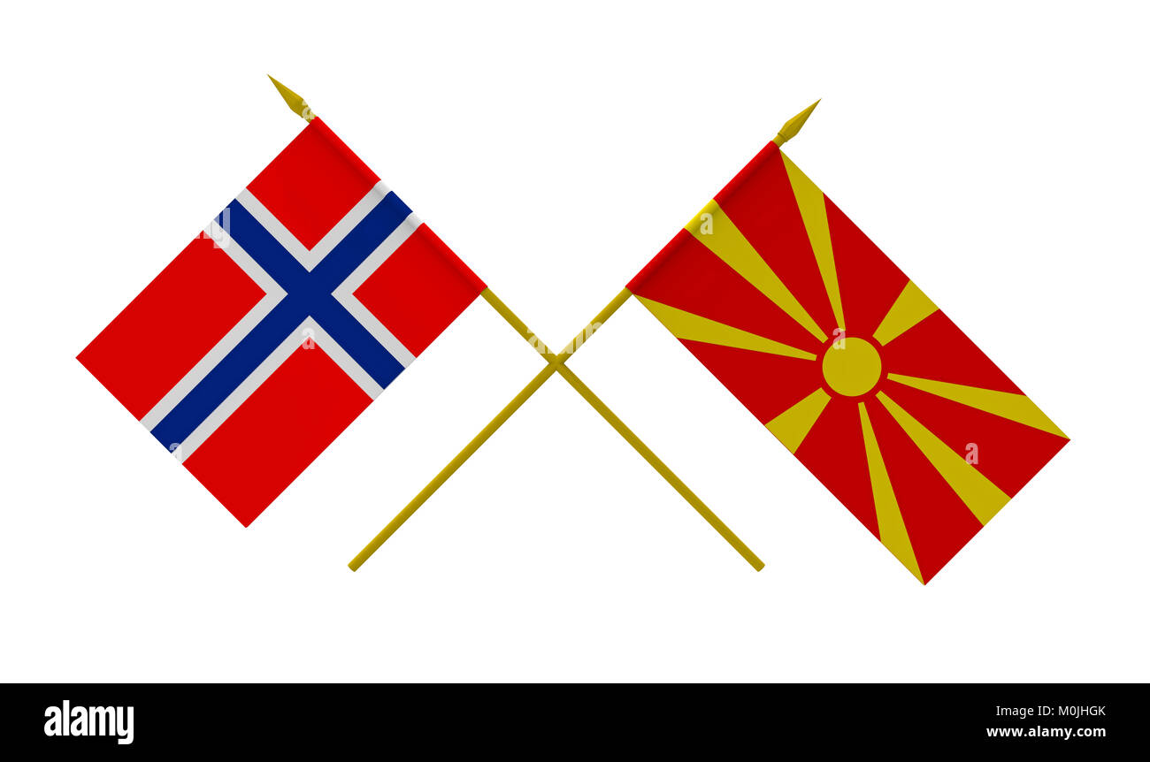 Flags of Macedonia and Norway, 3d render, isolated on white - Stock Image