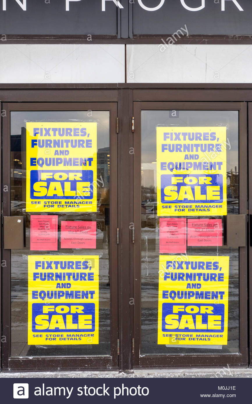 Sears Canada liquidation this store closing at the Scarborough Town Centre Toronto Ontario Canada - Stock Image