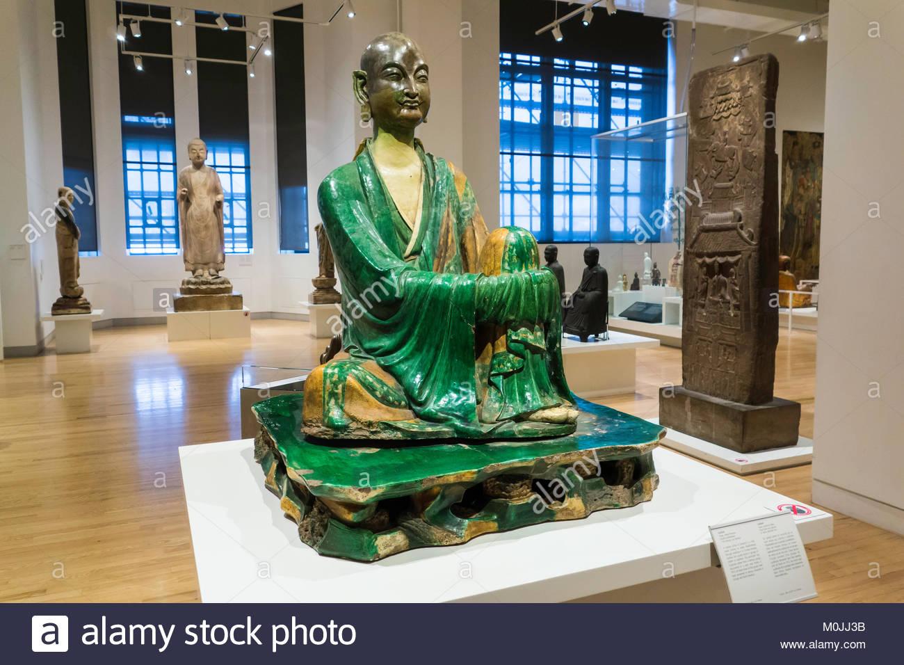 Royal Ontario Museum ROM monk or Luohan glazed earthenware clay 11 century Liao dynasty China exhibit Toronto Ontario - Stock Image