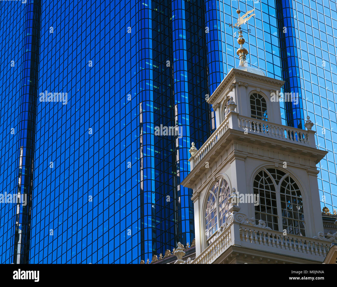 Trinity Church and the Hancock Tower, Boston, Massachusetts, USA - Stock Image