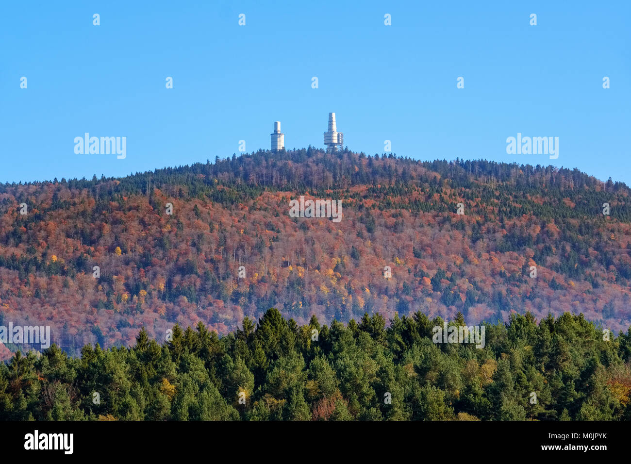 Telecommunication tower and observation tower, Hoher Bogen, near Rimbach, Bavarian Forest, Upper Palatinate, Bavaria, - Stock Image
