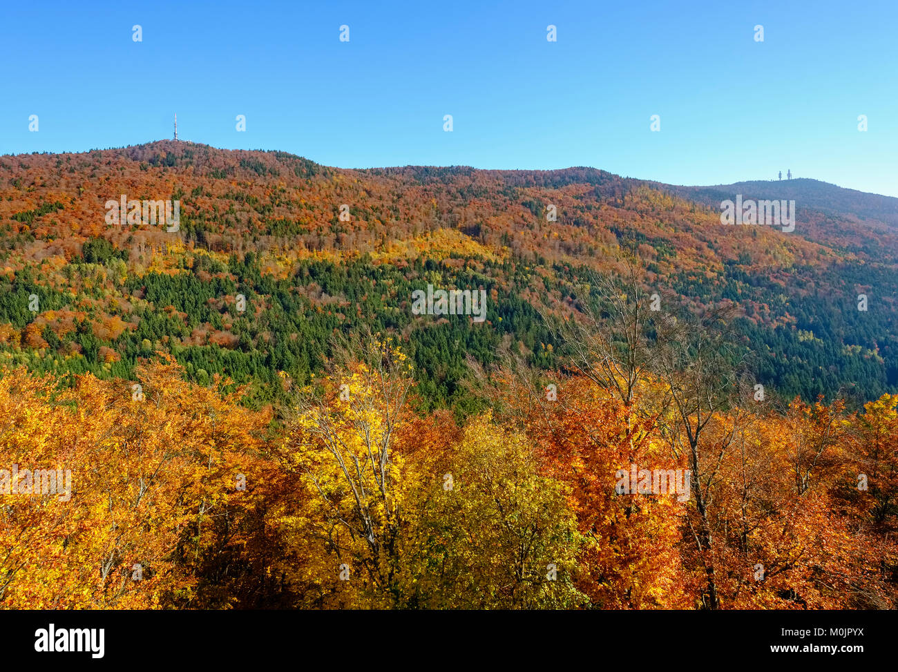 High arch, view from Lichteneck Castle, near Rimbach, Bavarian Forest, Upper Palatinate, Bavaria, Germany - Stock Image