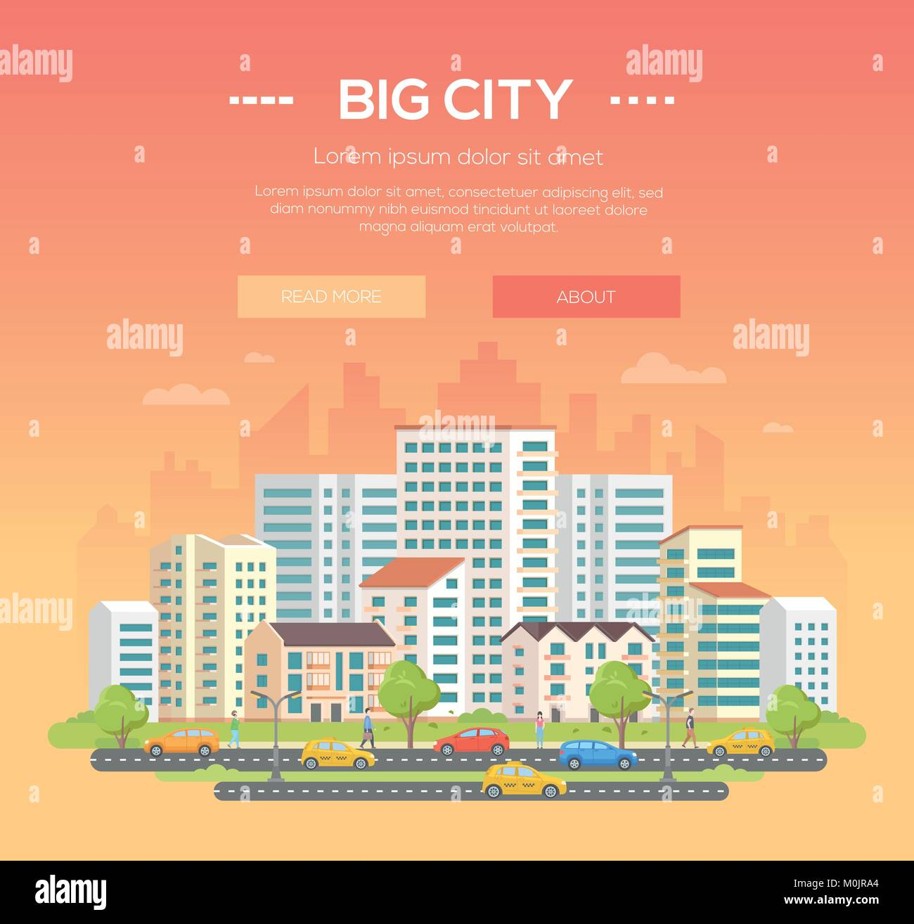 Big city - modern colorful vector illustration - Stock Vector