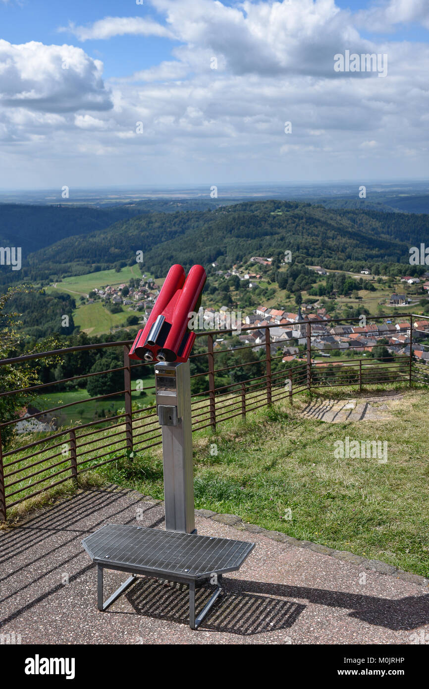 Binoculars on a viewing platform, in Alsace, France - Stock Image