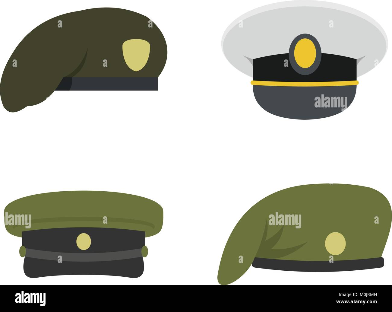 Military cap icon set, flat style Stock Vector Art