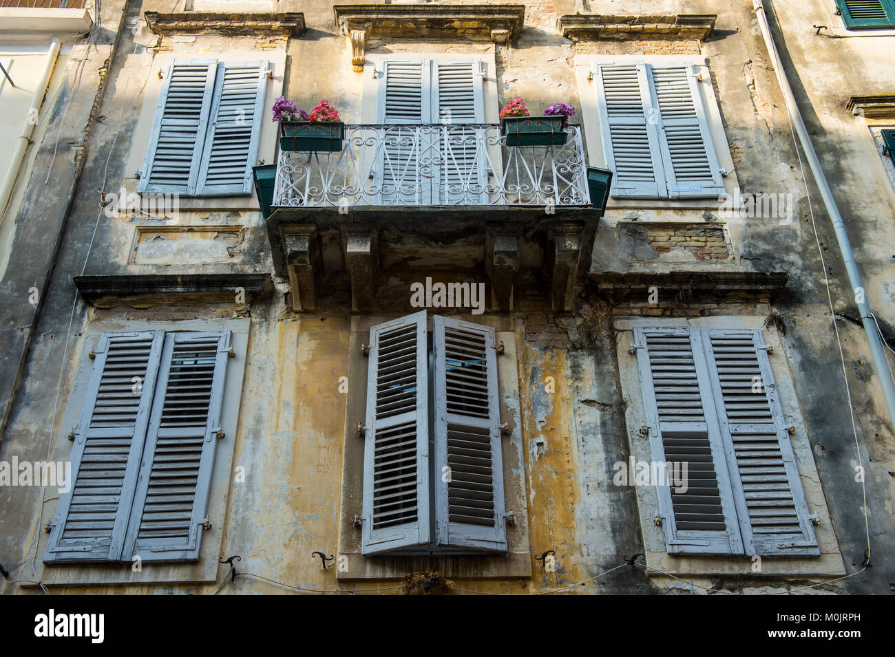 Housefront in the old town of Corfu, Ionian Islands, Greece - Stock Image
