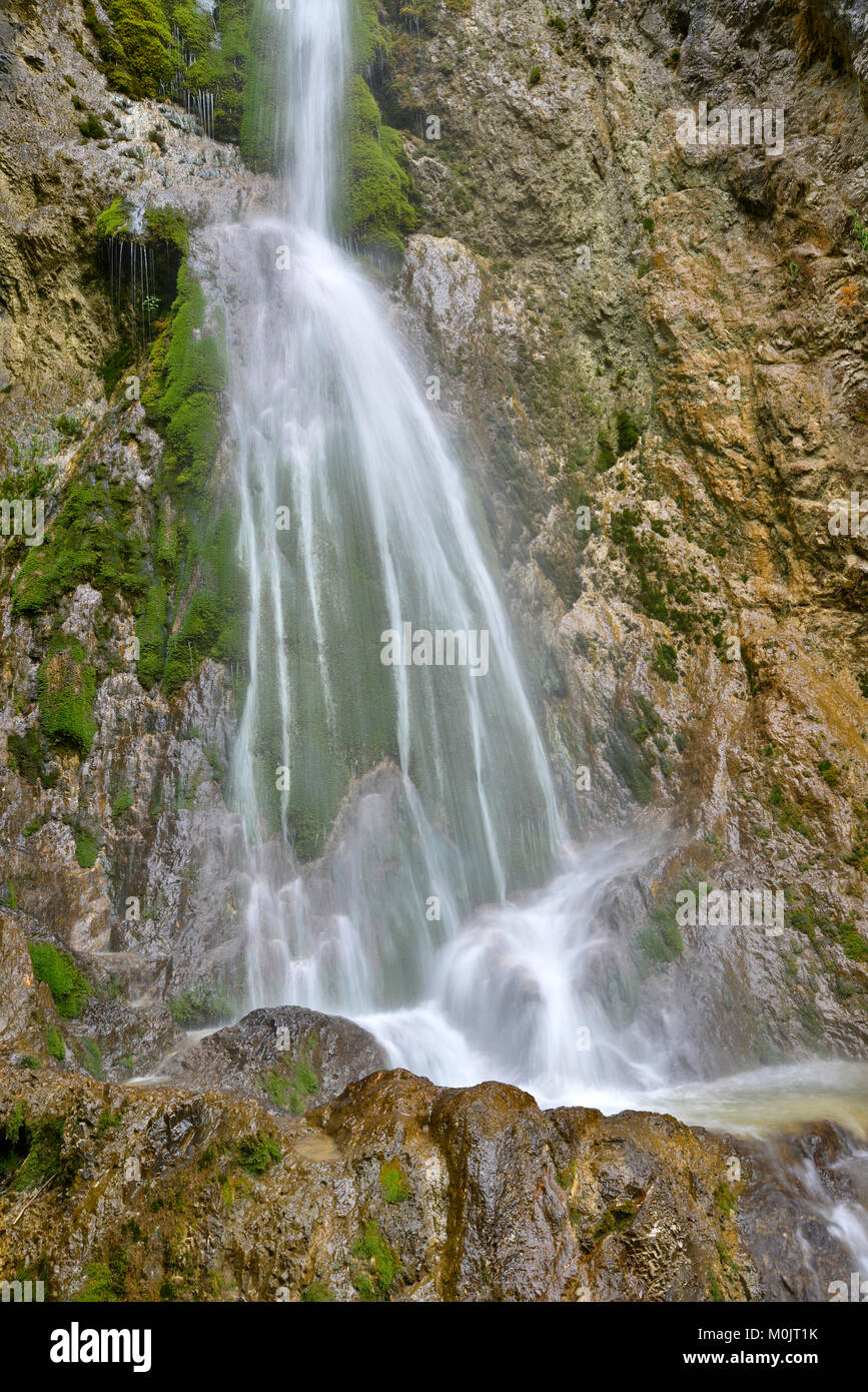Waterfall at the entrance to Oberautal, Achenkirch, Tyrol, Austria - Stock Image