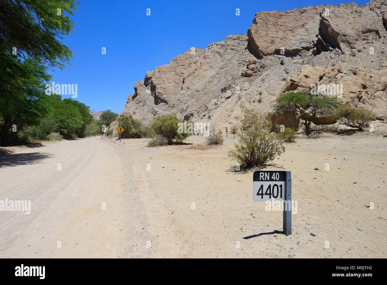 Signpost on the Route National RN 40 at KM 4401, near Cafayate, Salta, Argentina - Stock Image