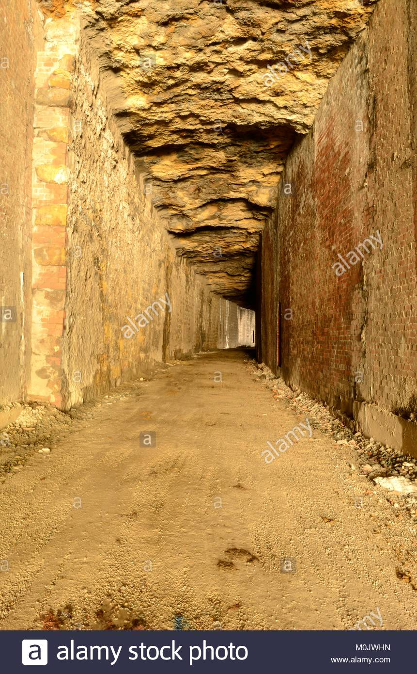 Inside Tunnel Number 12 on North Bend Rail Trail in Ritchie County West Virginia. Built by B&O Railroad but - Stock Image