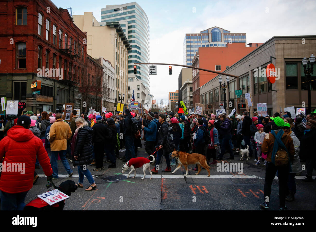 Women march for their rights and to protest against President Donald Trump on January 20, 2018. Portland, Oregon, - Stock Image