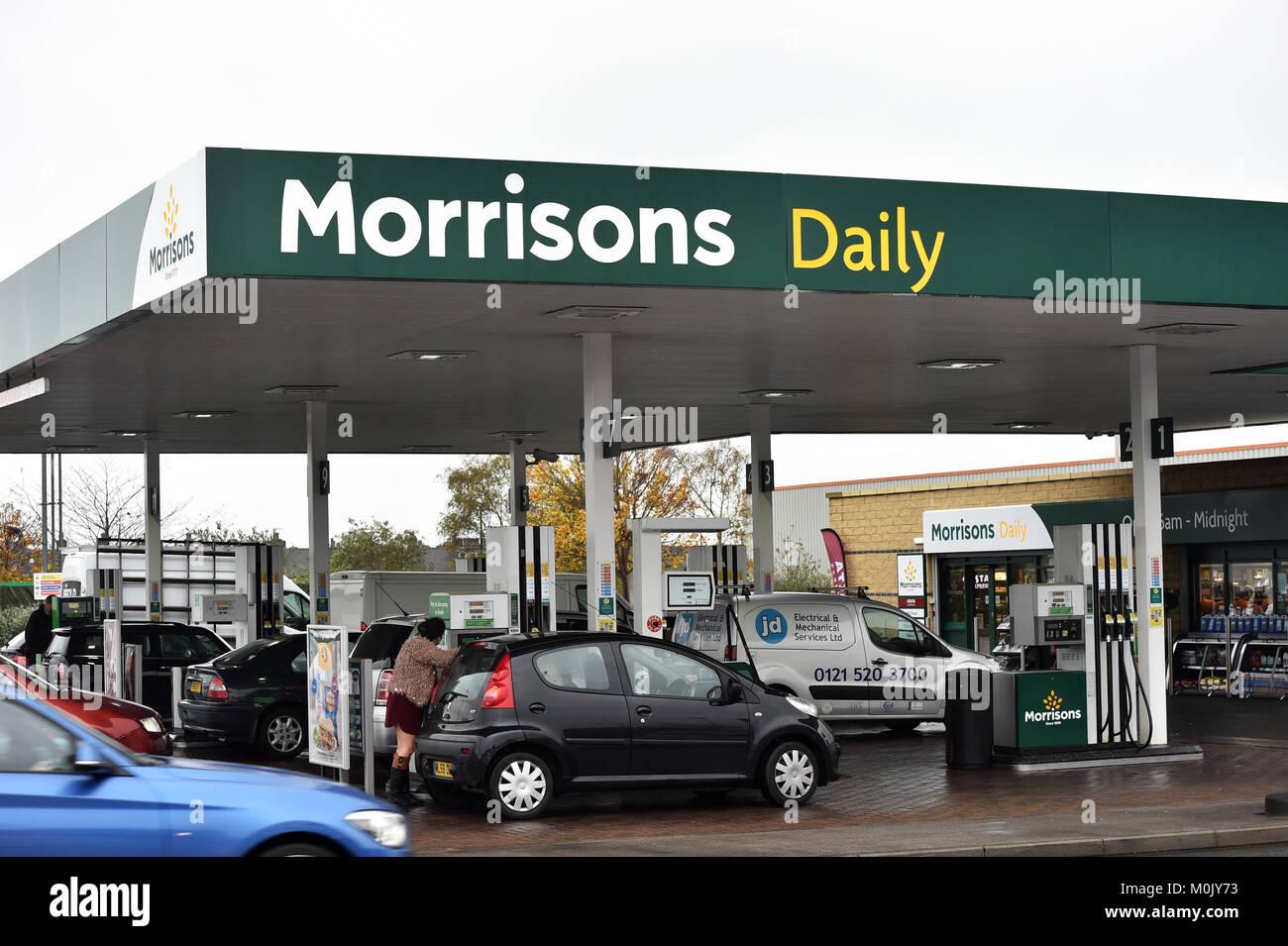 Morrisons petrol station Bradford UK - Stock Image