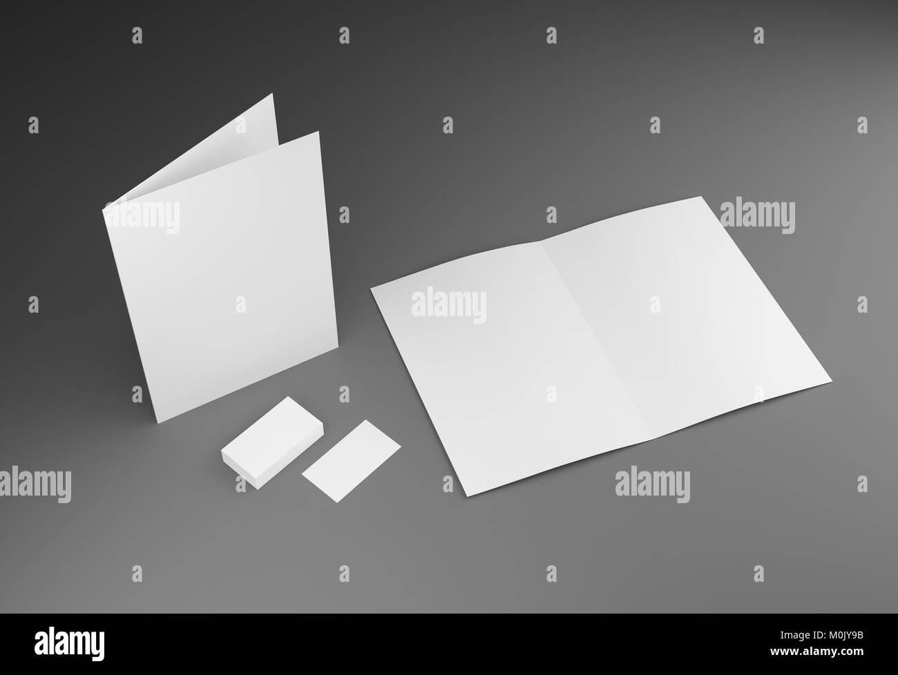 A2 brochure blank white template and business cards mockup for stock a2 brochure blank white template and business cards mockup for presentation and design3d illustration flashek Gallery