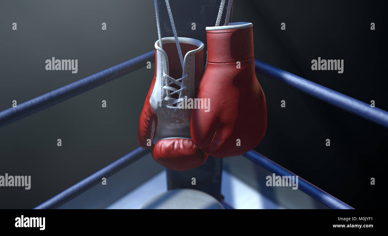 The blue corner of a boxing ring with gloves hanging on a pole spotlit on an isolated dark background - 3D render - Stock Image