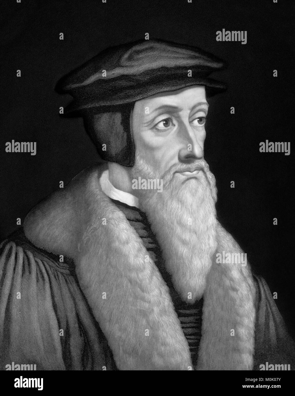 John Calvin (1509-1564), portrait of the French theologian and protestant reformer. An 1886 engraving by John Sartain - Stock Image