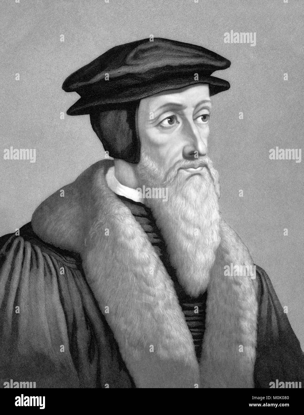 John Calvin (1509-1564), portrait of the French theologian and protestant reformer. An 1886 engraving by John Sartain Stock Photo